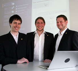 They have conducted intensive tests on the TIA portal: (l. to r.) Daniel Rengnath, Johann Weiher, Thomas Zenk. Not in photo: Tobias Graf.