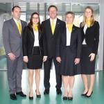 Gemeinsam stark sein: die drei SPANGLER-Geschäftsführer Tina Lambert (l.), Helmut Graspointner (Mitte) und Hannelore Spangler (r.) mit den beiden Mitgliedern der Geschäftsleitung Cornelia Hofmann und Christian Brandmüller.
