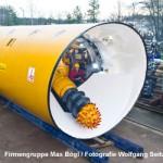 Frontansicht einer Tunnelbohrmaschine mit Bohrkopf.