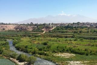 Abwasserfluss Tagebau-Mine Cerro Verde