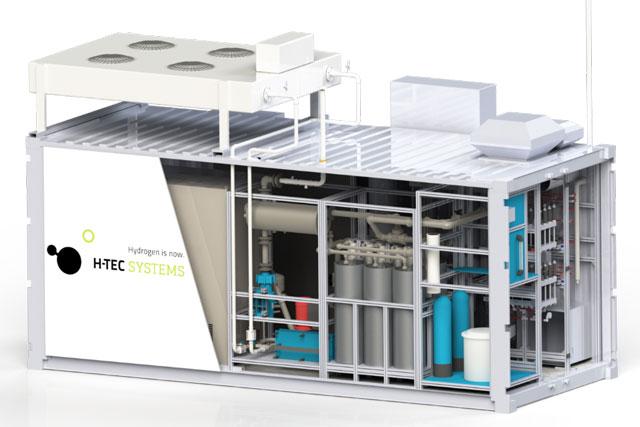 Elektrolyseur mit Steuerungsanlage im Seecontainer. (Quelle: H-TEC SYSTEMS GmbH)