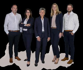 Spangler Geschäftsleitung, bestehend aus: Christian Brandmüller, Tina Lambert, Hannelore Spangler-Schäfer, Cornelia Hofmann und Thomas Zenk